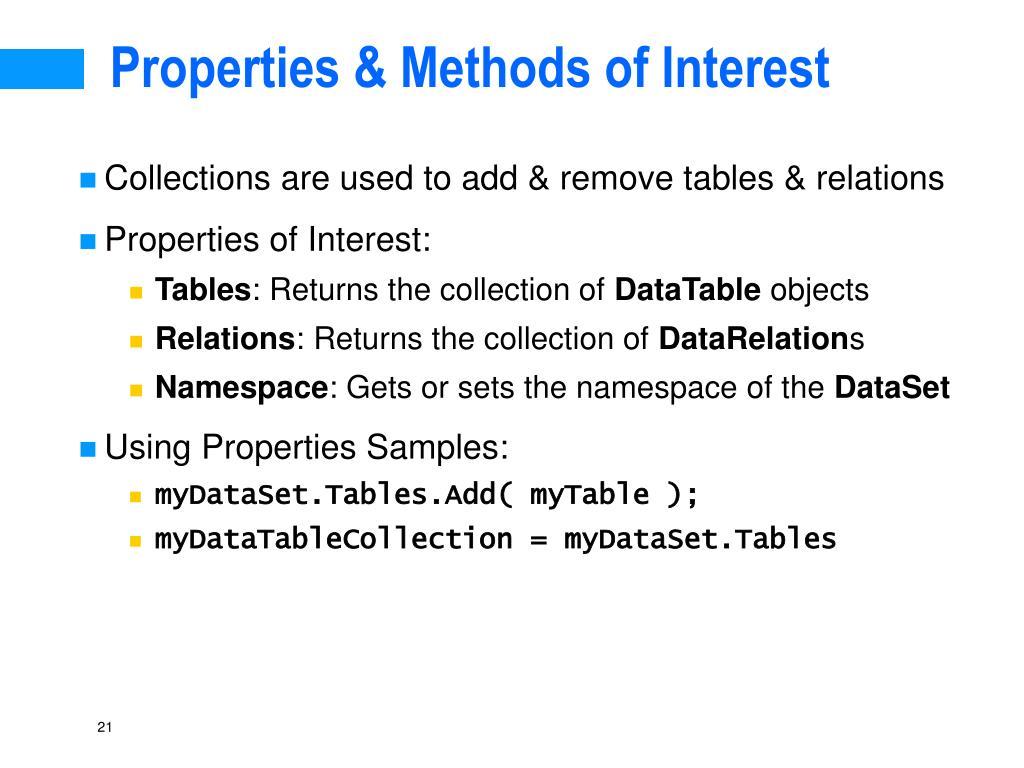 Properties & Methods of Interest