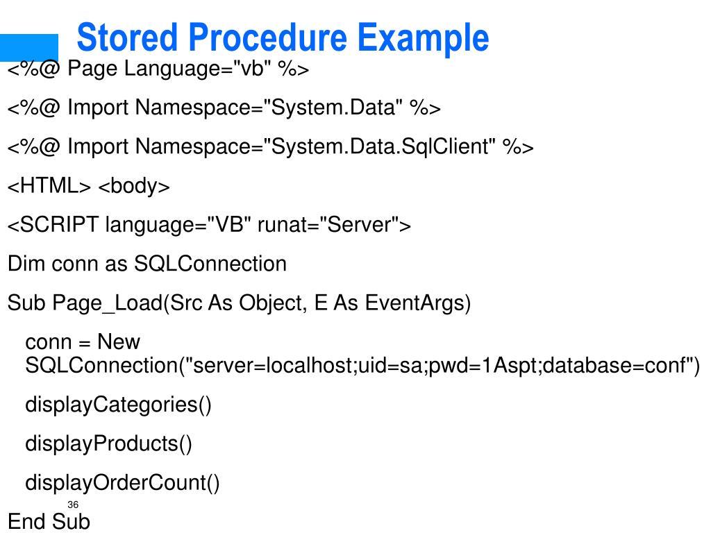 Stored Procedure Example