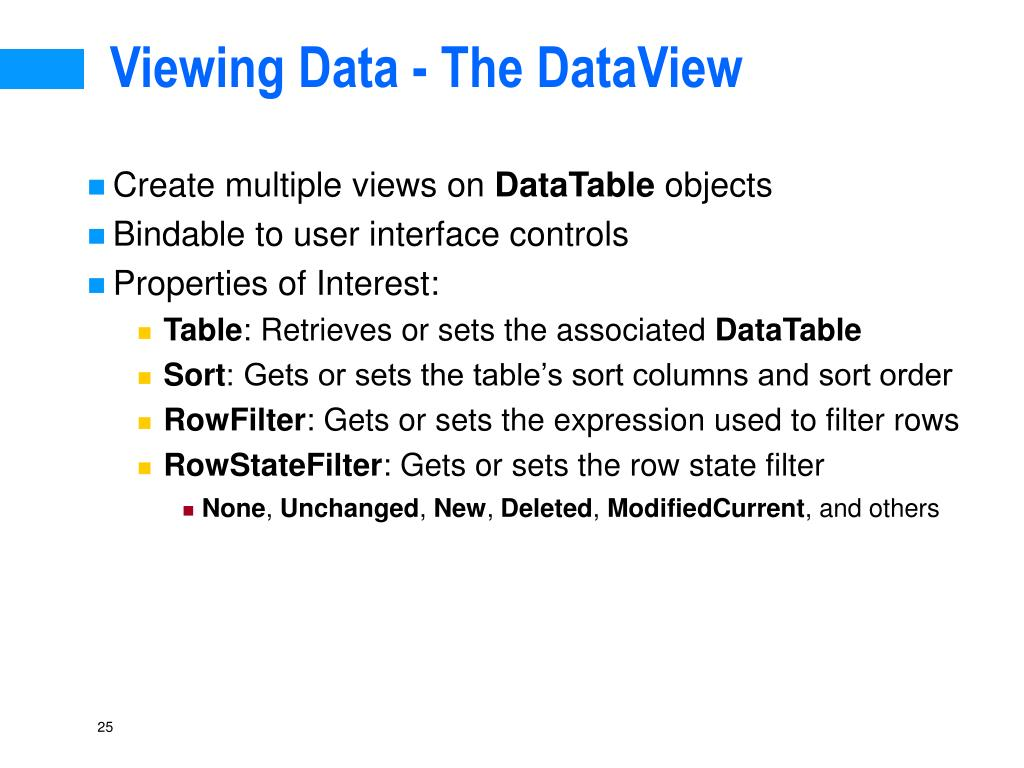 Viewing Data - The DataView
