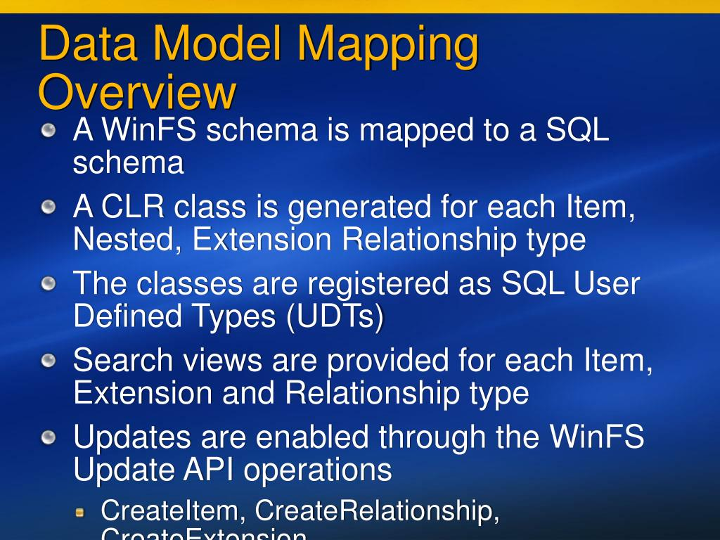 Data Model Mapping Overview