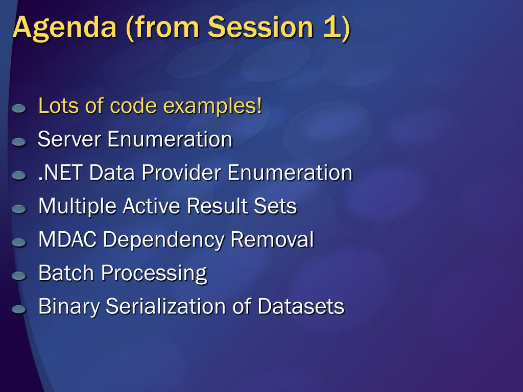 Agenda (from Session 1)