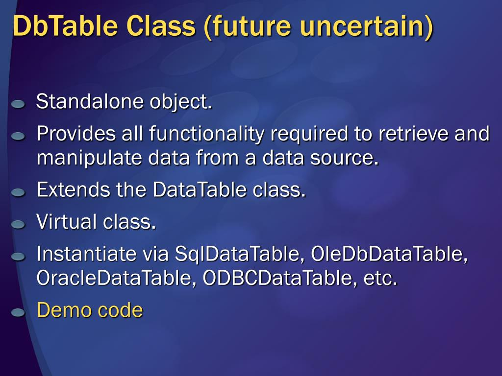 DbTable Class (future uncertain)