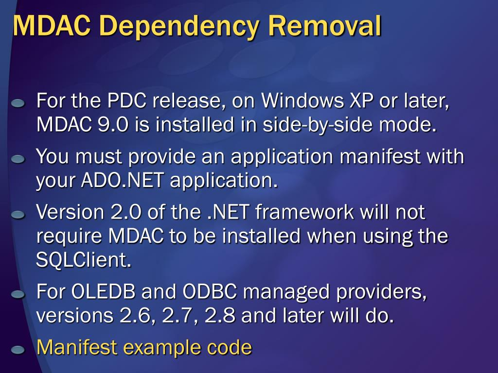 MDAC Dependency Removal