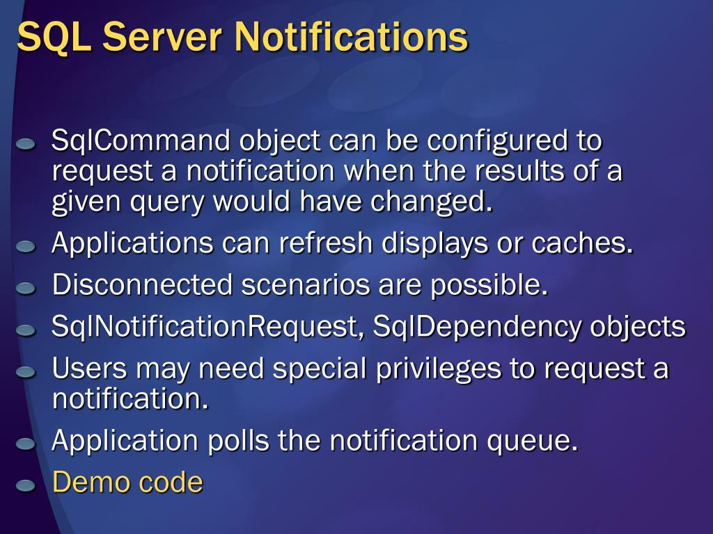 SQL Server Notifications