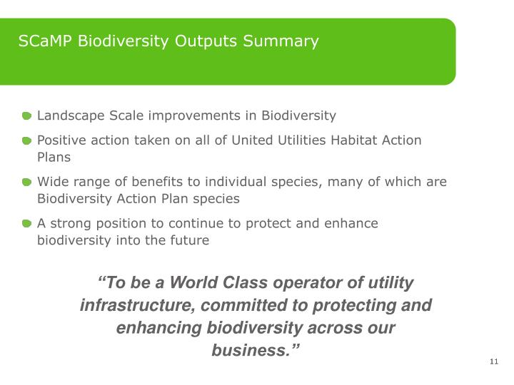 SCaMP Biodiversity Outputs Summary