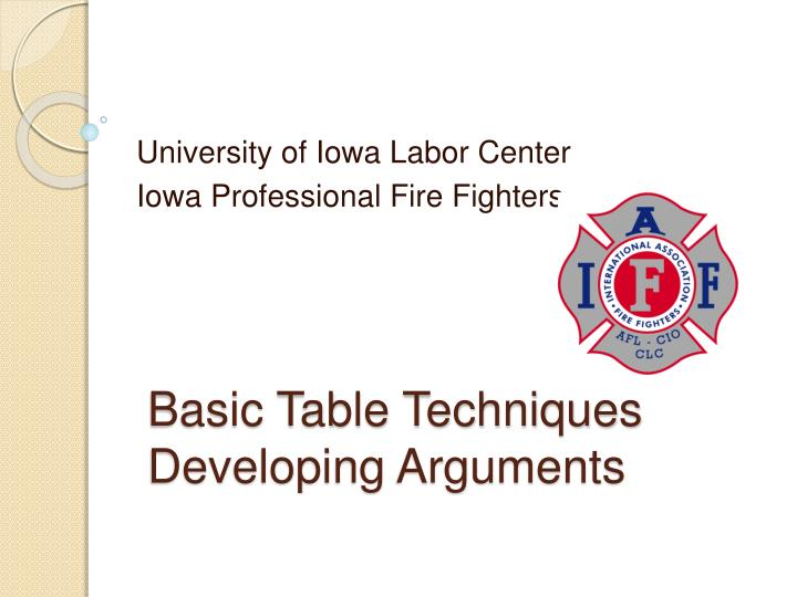 basic table techniques developing arguments n.