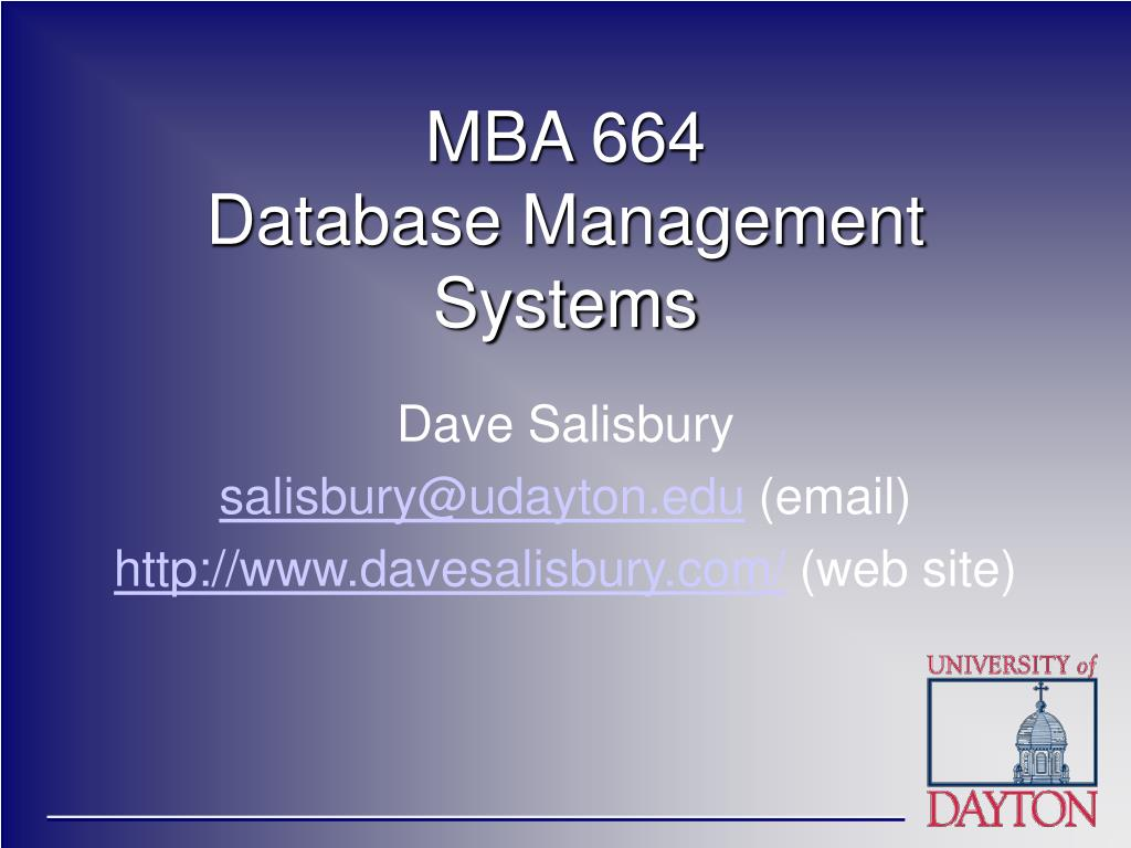 mba 664 database management systems l.