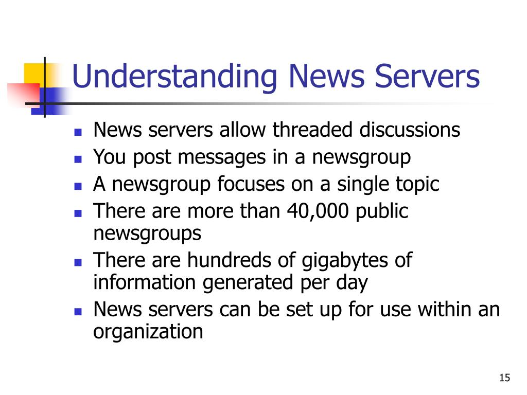 Understanding News Servers