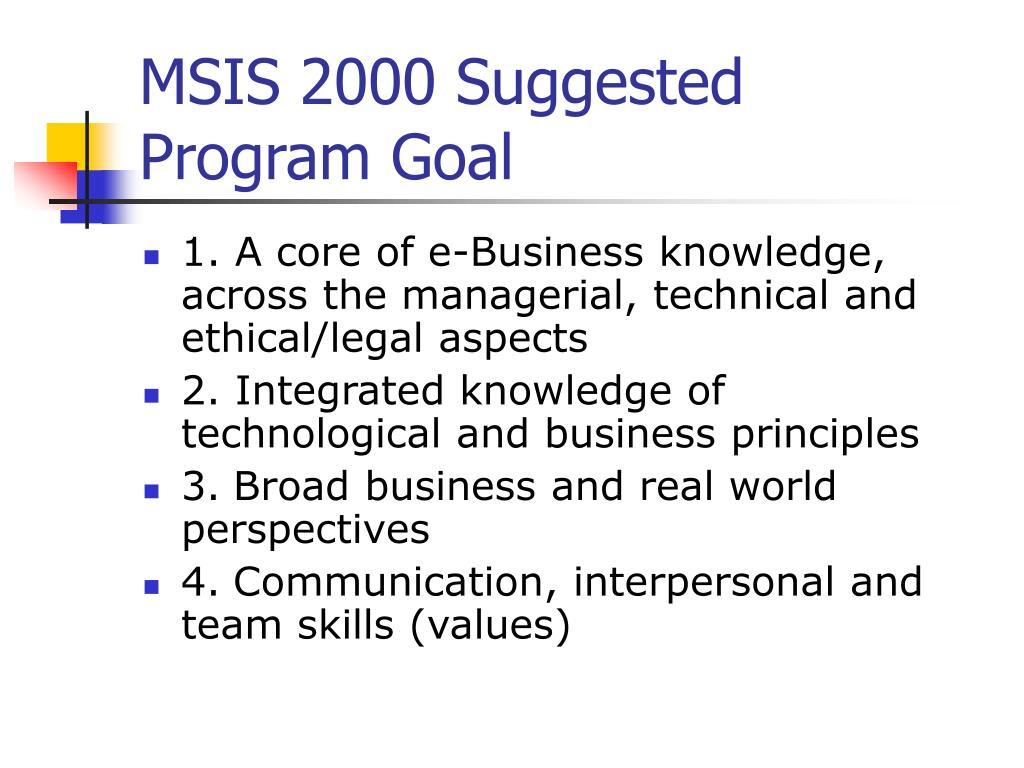 MSIS 2000 Suggested Program Goal