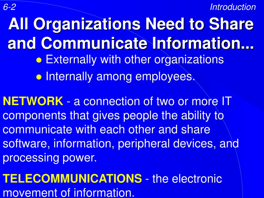 all organizations need to share and communicate information l.