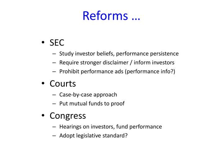 Reforms …