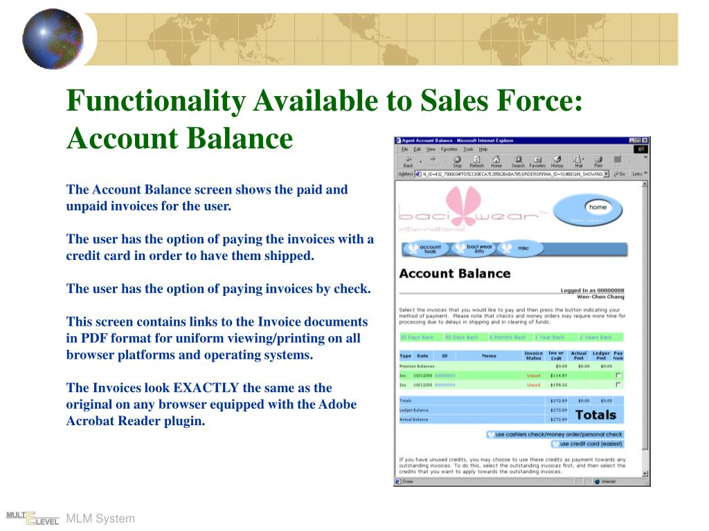 Functionality Available to Sales Force: Account Balance