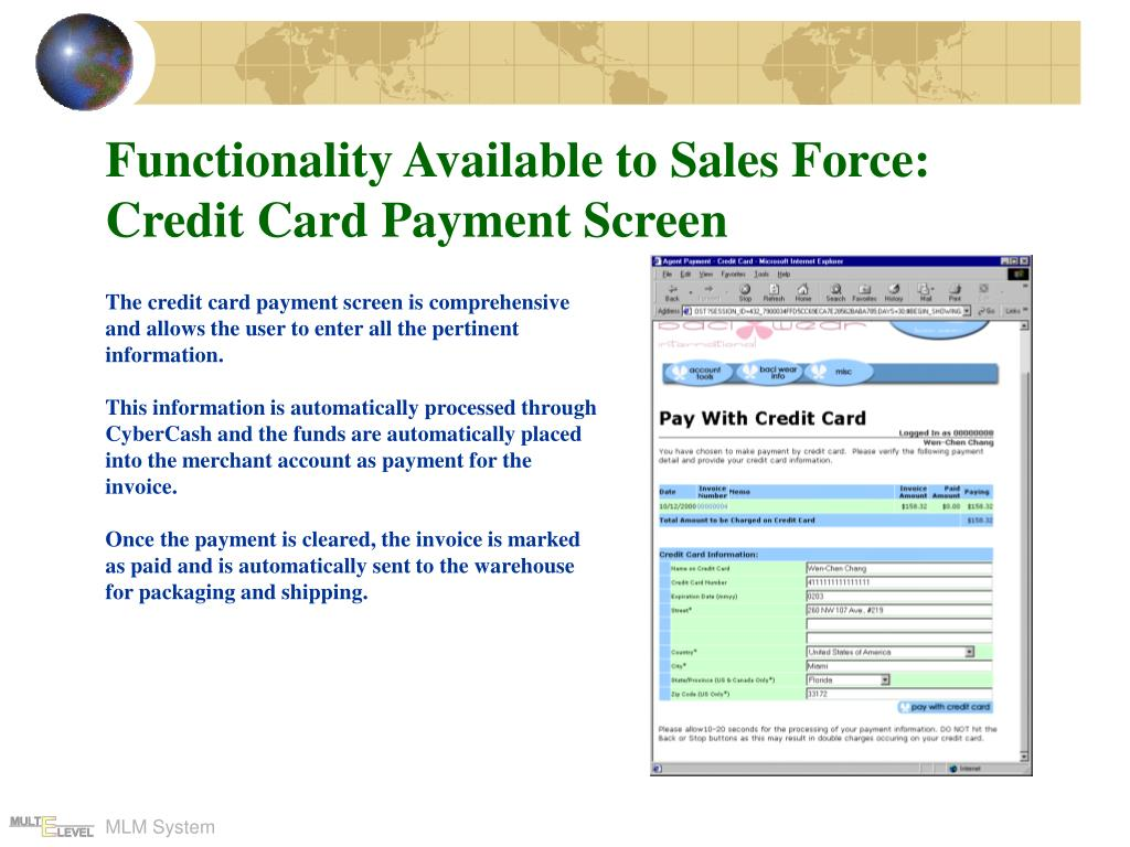 Functionality Available to Sales Force: Credit Card Payment Screen