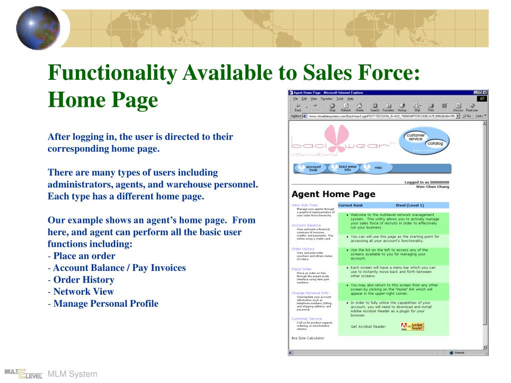 Functionality Available to Sales Force: Home Page