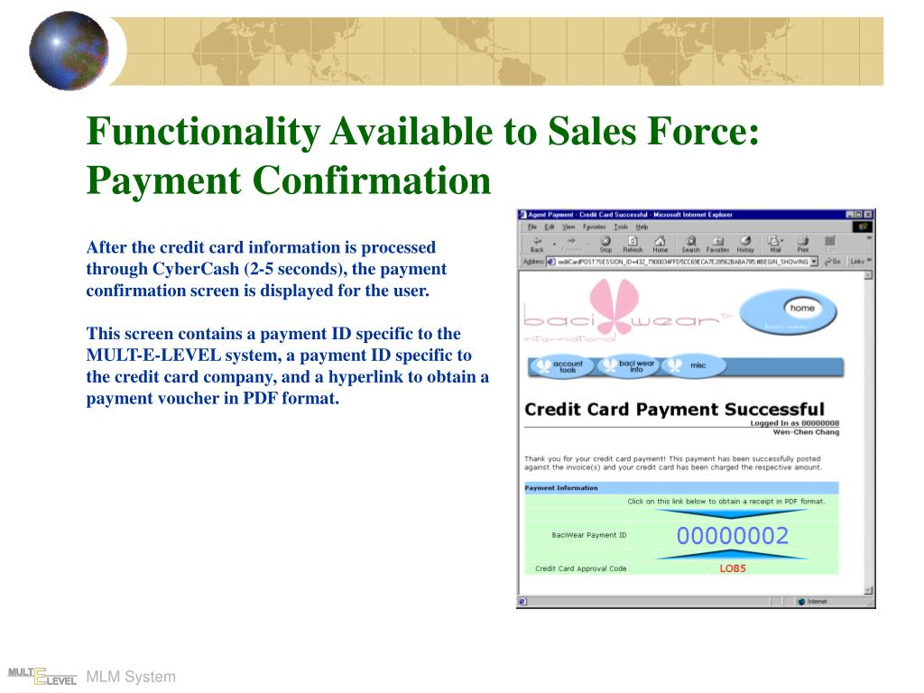 Functionality Available to Sales Force: Payment Confirmation