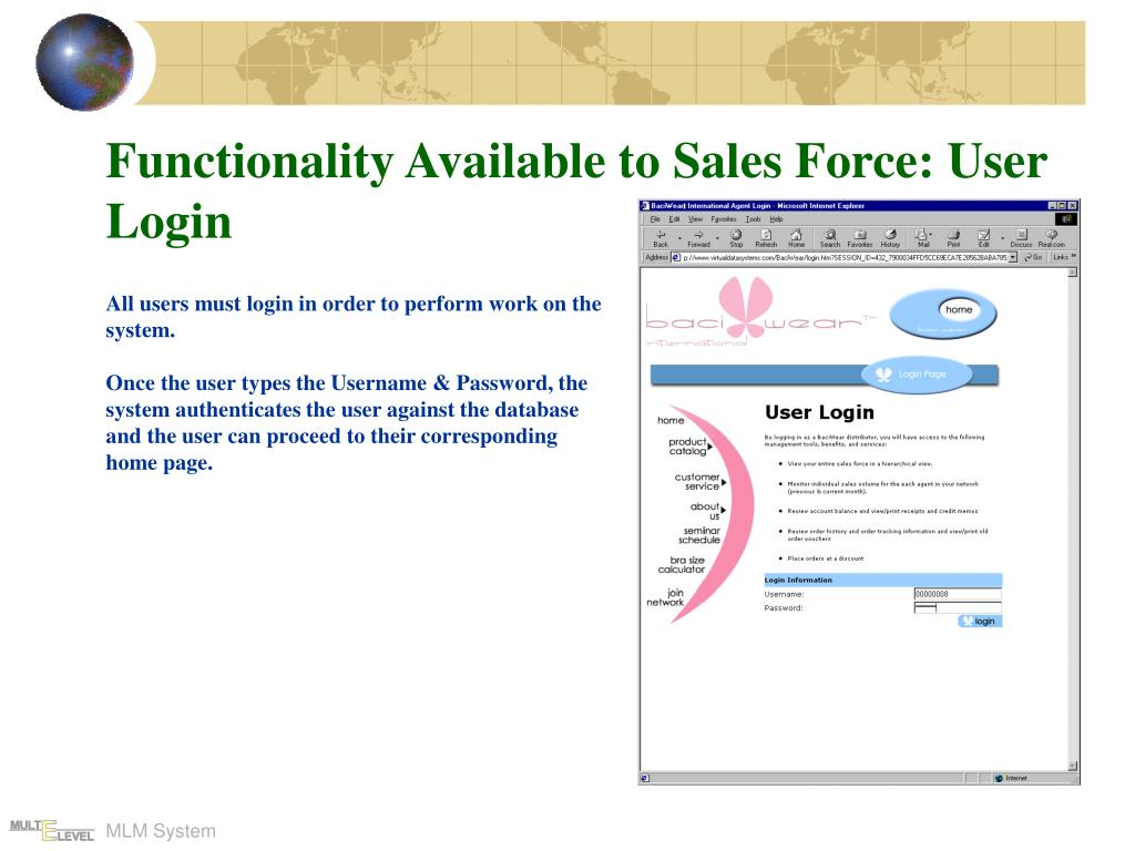 Functionality Available to Sales Force: User Login
