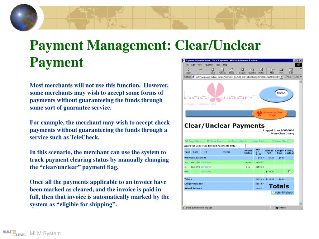 Payment Management: Clear/Unclear Payment