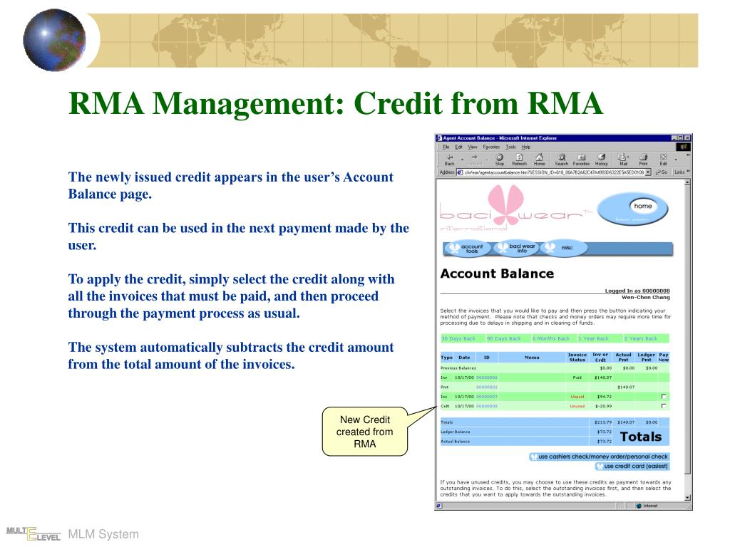 RMA Management: Credit from RMA