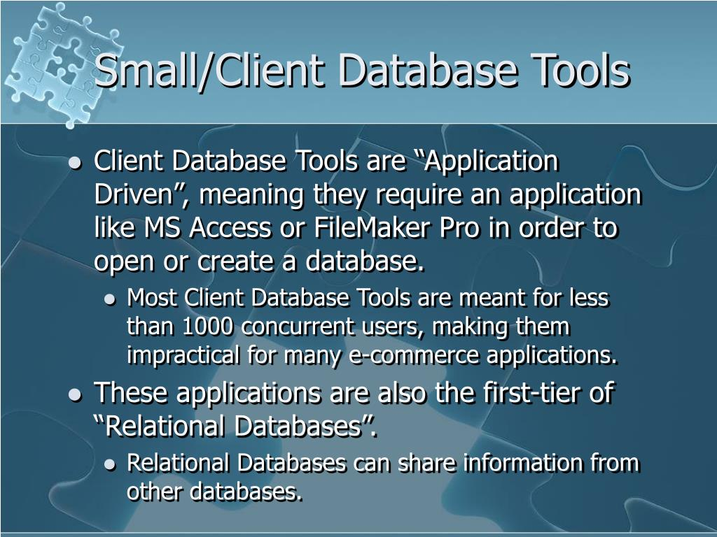 Small/Client Database Tools