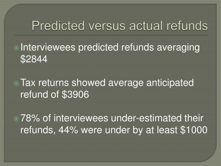 Predicted versus actual refunds
