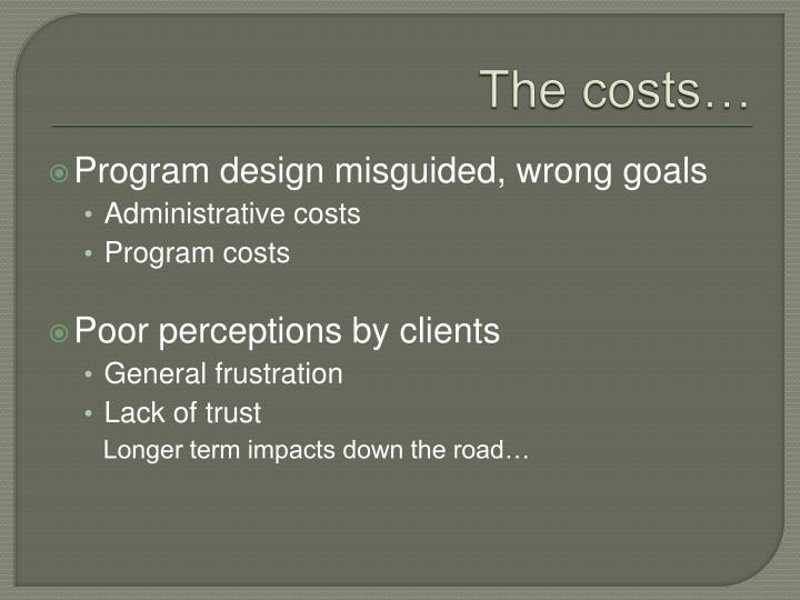 The costs…