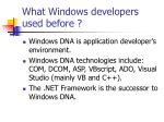 what windows developers used before