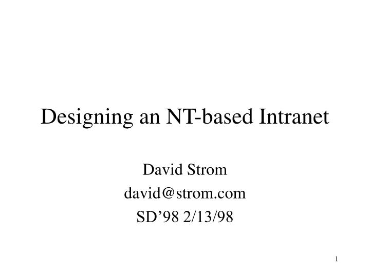 Designing an nt based intranet