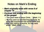 notes on mark s ending