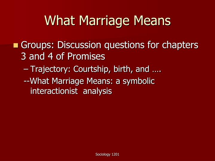 What Marriage Means