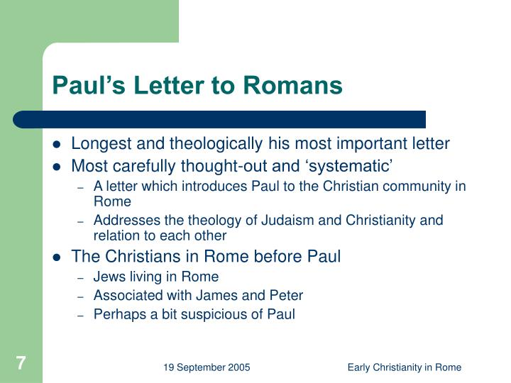 a letter to an early christian community is called ppt development of early christianity in rome powerpoint 20333 | paul s letter to romans n