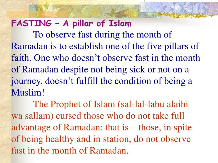 FASTING – A pillar of Islam