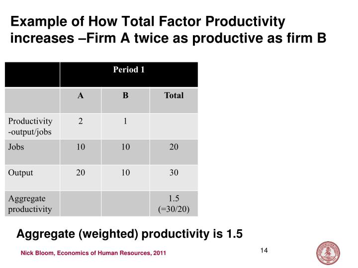 Example of How Total Factor Productivity increases –Firm A twice as productive as firm B