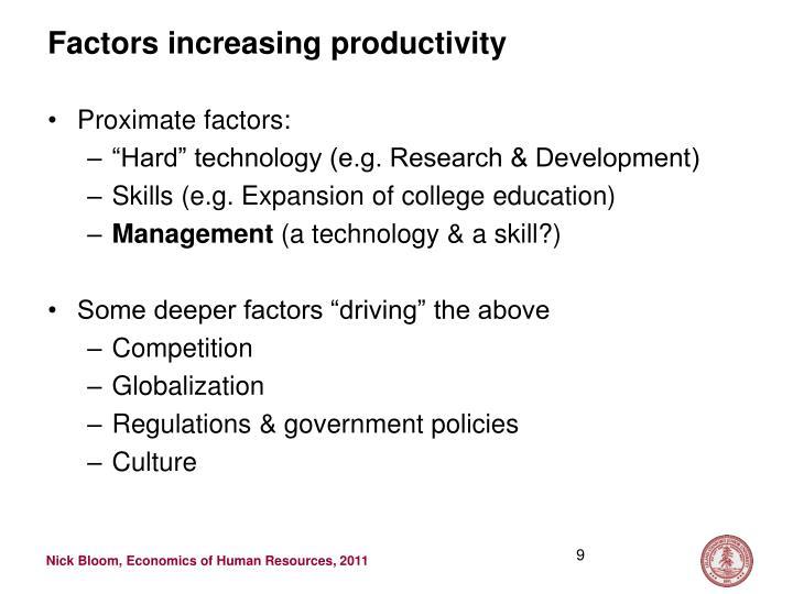 Factors increasing productivity