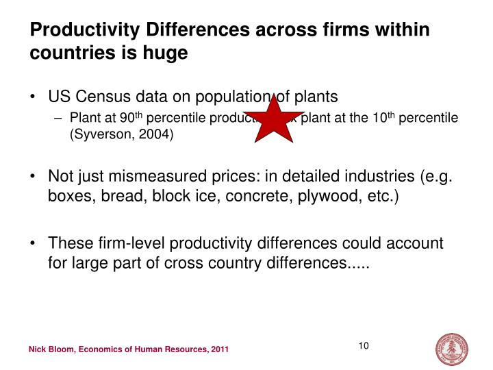Productivity Differences across firms within countries is huge