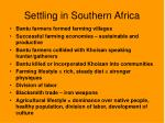 settling in southern africa