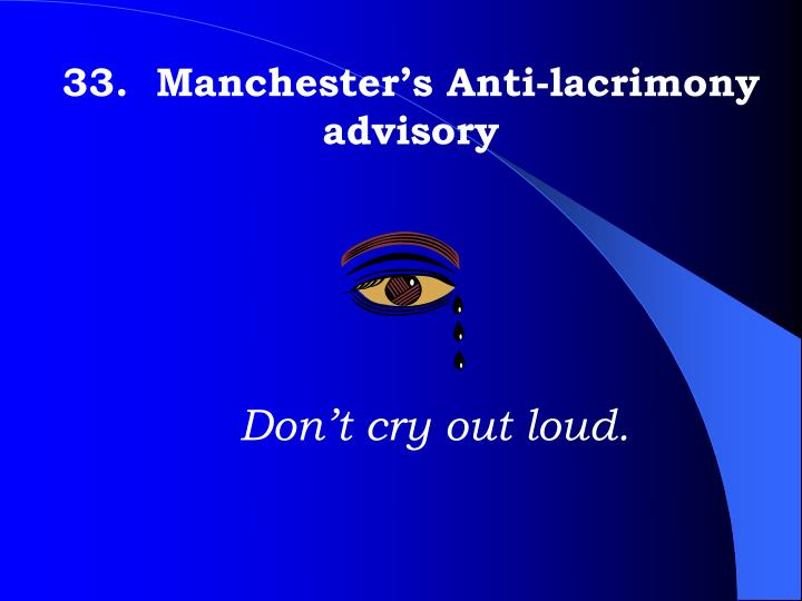 33.  Manchester's Anti-lacrimony advisory