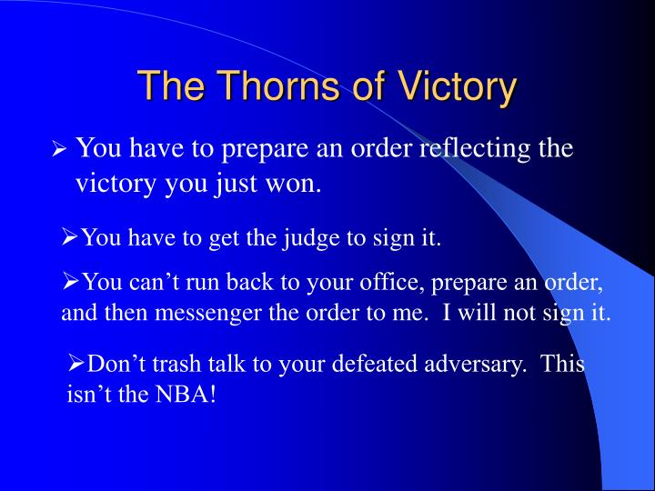 The Thorns of Victory