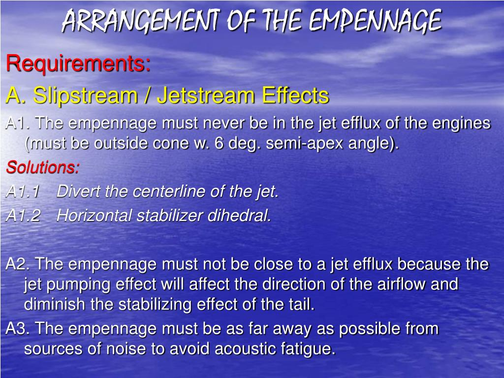 ARRANGEMENT OF THE EMPENNAGE