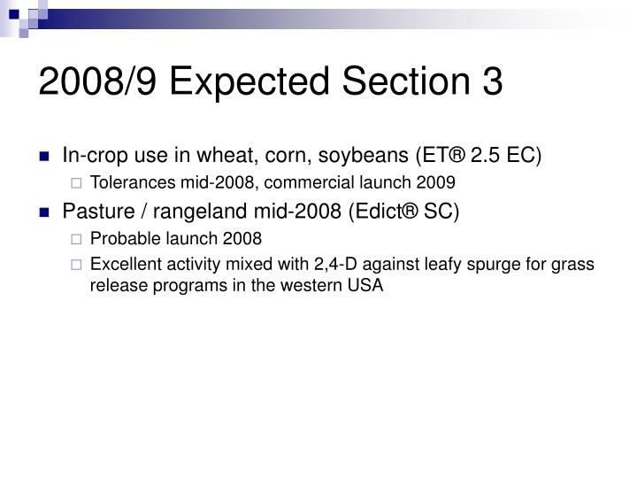 2008/9 Expected Section 3