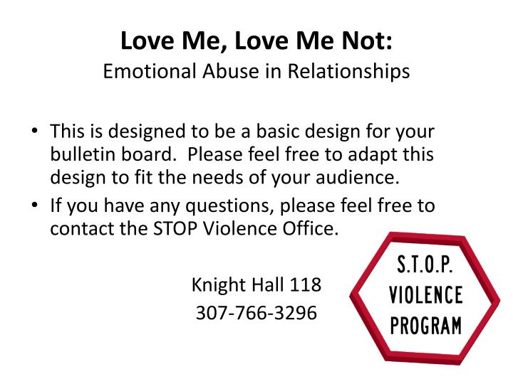 Love me love me not emotional abuse in relationships