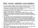 riot revolt rebellion and sedition