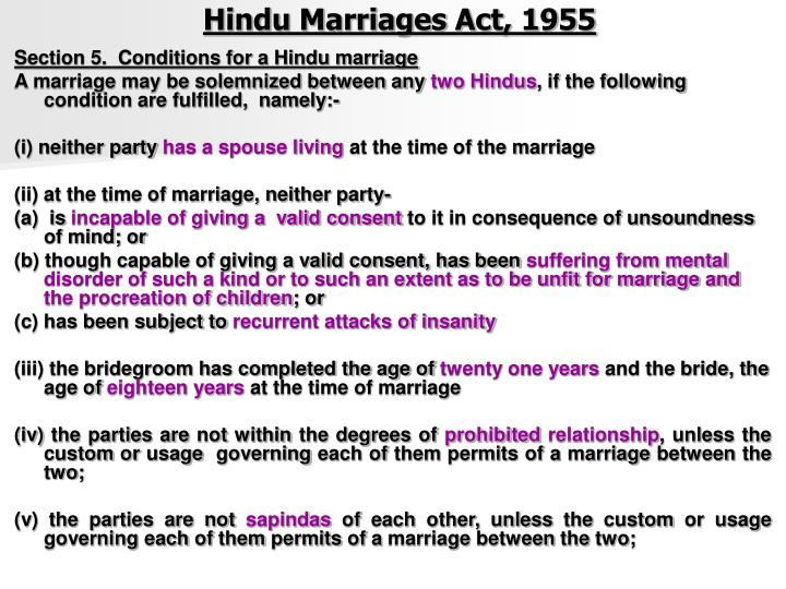 section 5 of hindu marriage act