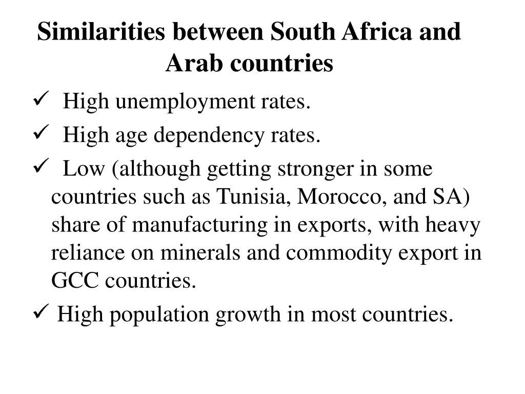 Similarities between South Africa and Arab countries