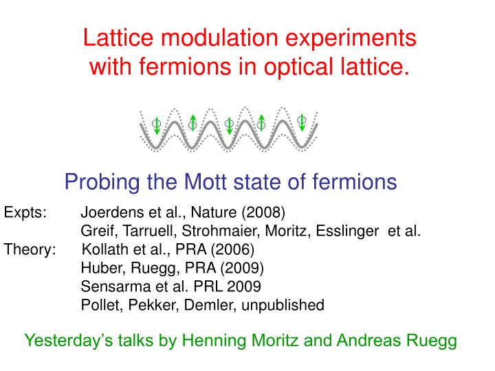 Lattice modulation experiments with fermions in optical lattice
