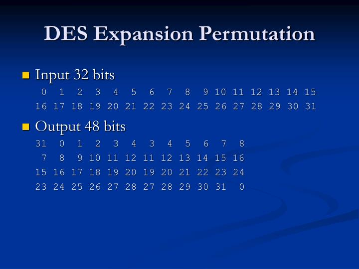 DES Expansion Permutation