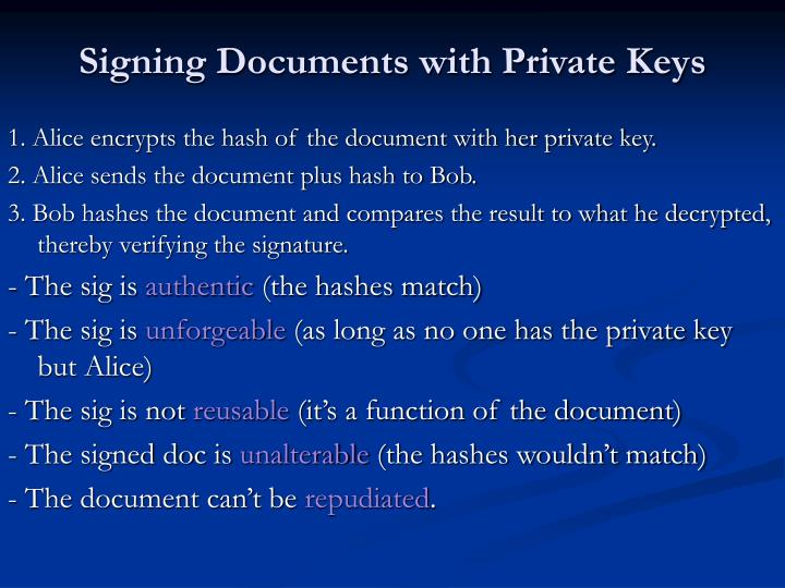 Signing Documents with Private Keys