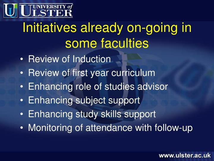 Initiatives already on-going in some faculties