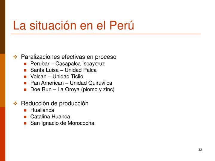 La situación en el Perú
