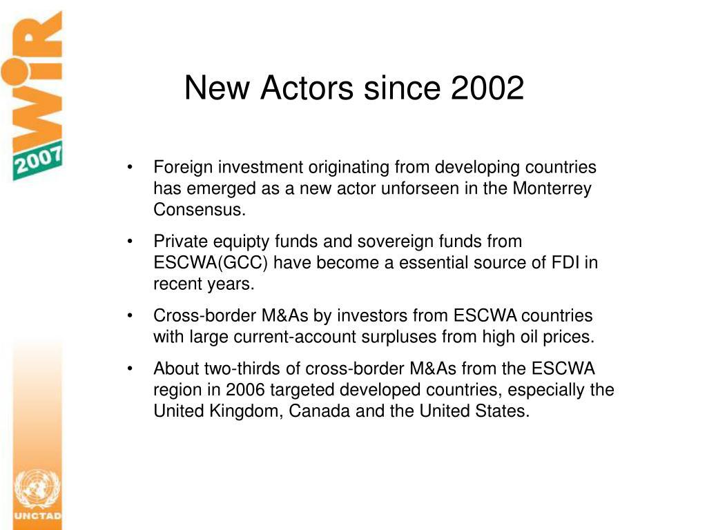 New Actors since 2002