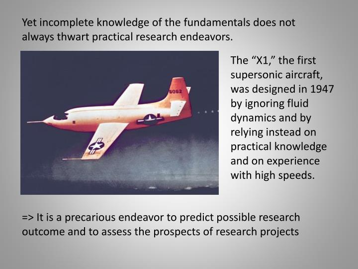 Yet incomplete knowledge of the fundamentals does not always thwart practical research endeavors.